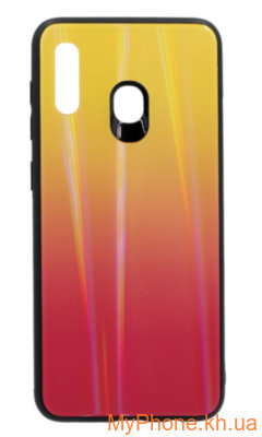 Чехол-накладка Glass Gradient + Border Silicon Samsung Galaxy A30 SM-A305F Yellow-Pink