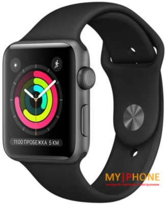 Смарт-часы Apple Watch Series 3 GPS 42mm Space Gray with Black Sport Band (MTF32)